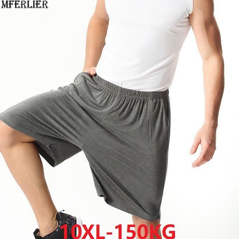Plus Size Big 8XL 9XL 10XL Men Shorts Modal Cotton Summer Soft Comfortable Navy Blue Elastic Waist Loose Shorts Thin Breathable