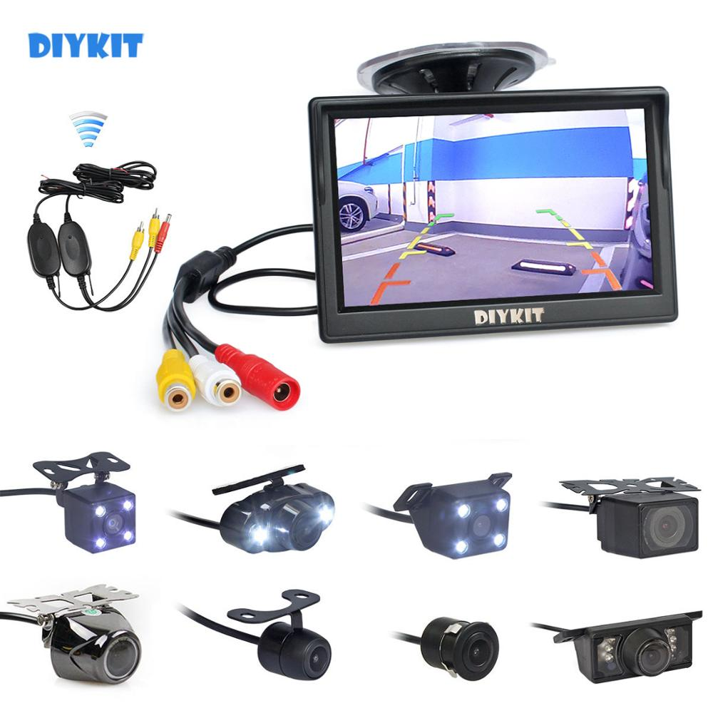 DIYKIT Wireless 5inch Rearview Car Monitor Auto Parking Vedio   Night Vision Backup Reverse Car LED Camera HD Rear View Camera