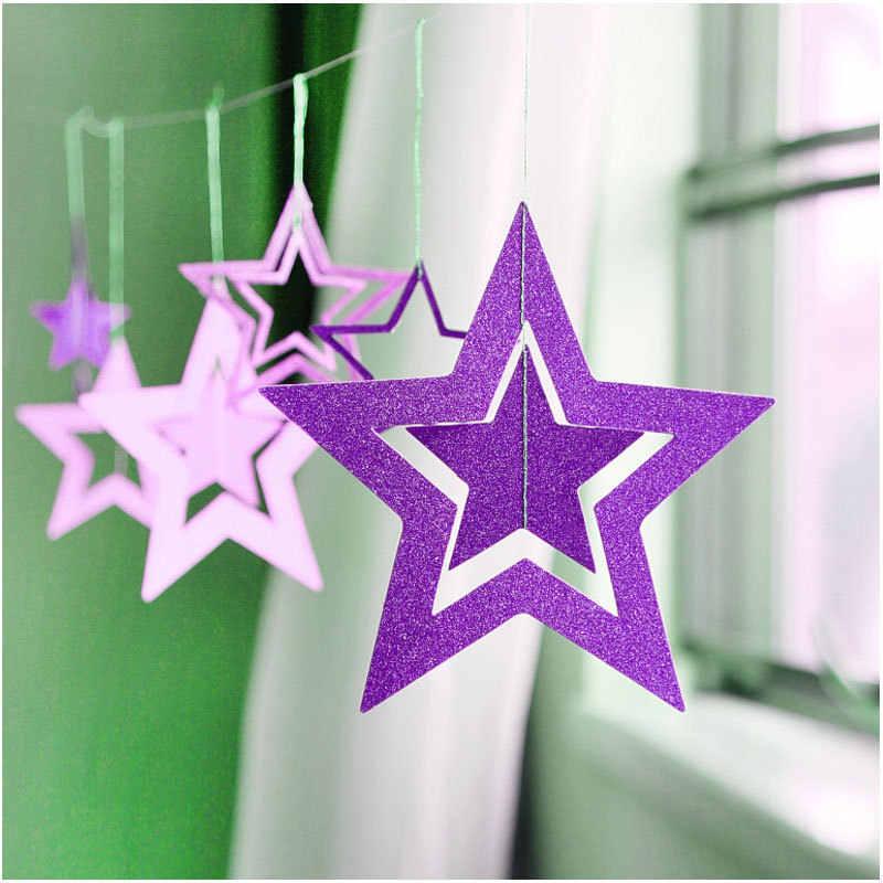 7 pz/lotto Scintillio Star a Sospensione di Carta Ghirlanda Di Natale Ornamenti di Natale Decorazioni per la Casa Nuovo Anno 2020 natale Noel Decorazione Navidad 2019