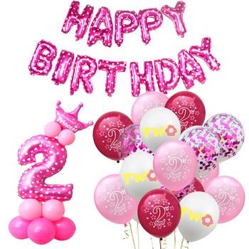 Kit de globos de látex de confeti azul y rosa de 2ª cumpleaños para bebé y Niña 2 años de edad decoraciones para fiesta de cumpleaños