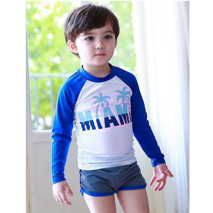 Baby Bathing Suit New Style CHILDREN'S Swimwear Boy Girls Big Boy Split Type Long Sleeve Sun-resistant Printed Letter Swimwear