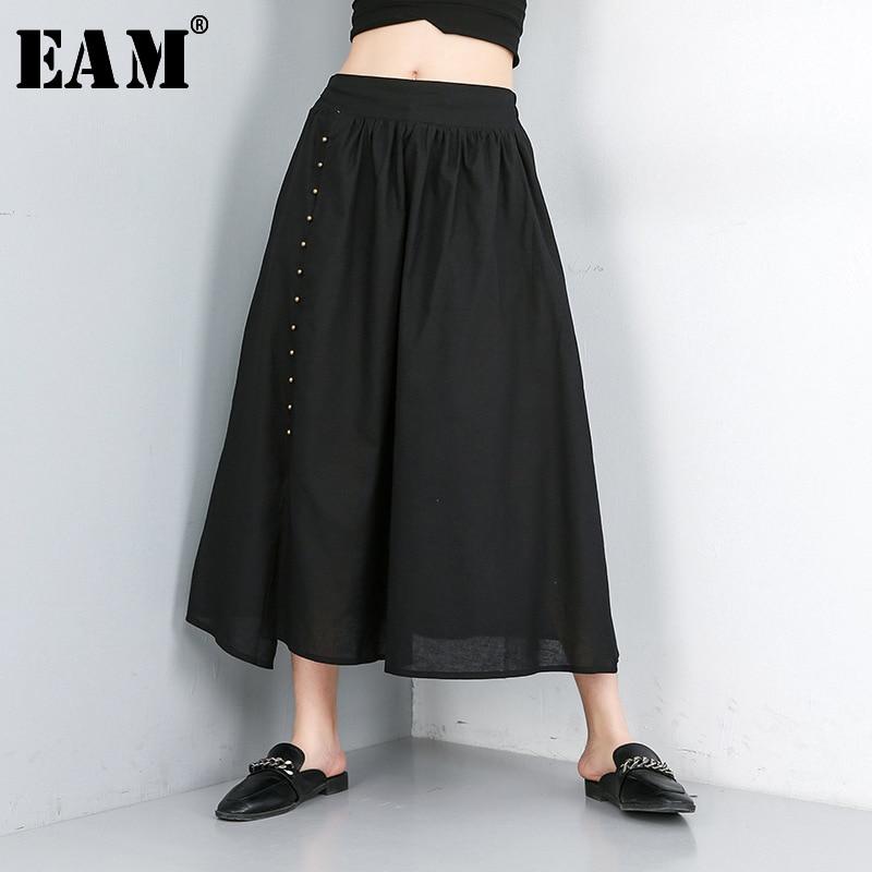 [EAM] 2020 New Spring Summer High Elastic Waist Black Loose Leisure Nailed Split Joint Half-body Skirt Women Fashion Tide JW561