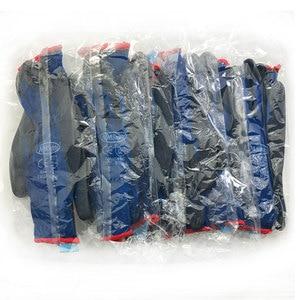 Image 4 - בטיחות מכונאי עבודה כפפות מצופה PU פאלם סרוג ניילון באיכות גבוהה אנטי להחליק לנשימה כפפת CE מוסמך EN388 4131X