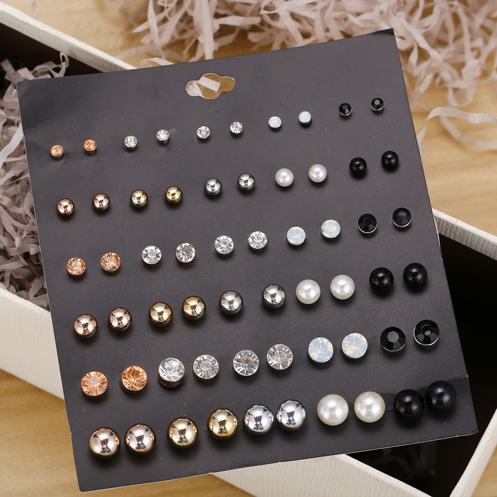 30 Pair/Set Crystal Stud Earrings Triangle Knot 2019 New Rhinestone imitation Pearl Earrings for Girls Tiny Ear Studs Pendientes(China)