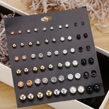 30 Pair/Set Crystal Stud Earrings Triangle Knot 2019 New Rhinestone imitation Pearl Earrings for Girls Tiny Ear Studs Pendientes pair of gorgeous artificial pearl triangle earrings for women