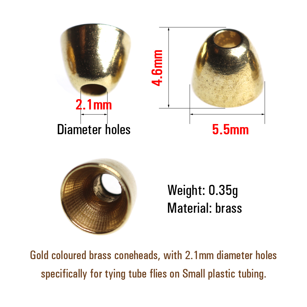Gold 5mm Brass Coneheads