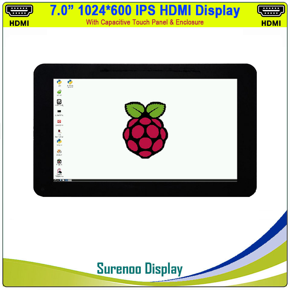 "7"" 7.0 Inch 1024*600 Mini HDMI IPS LCD Module Display Monitor Screen With USB Capacitive Touch Panel & Enclosure"