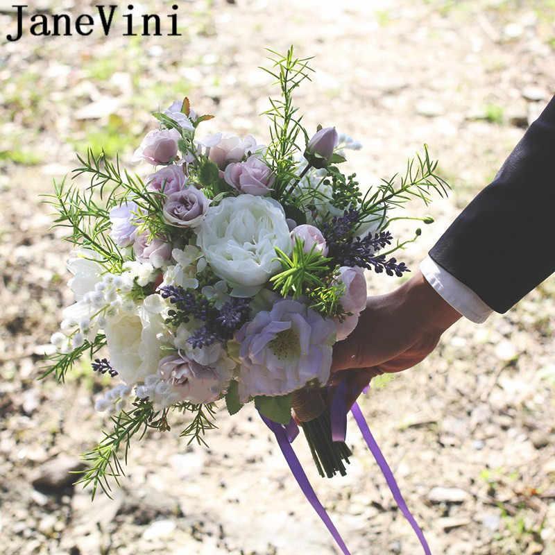 JaneVini Paarse ロ紫ラベンダーローズ花嫁ブーケシルクハンドホルダー花嫁介添人ブライダルブーケウェディングアクセサリー