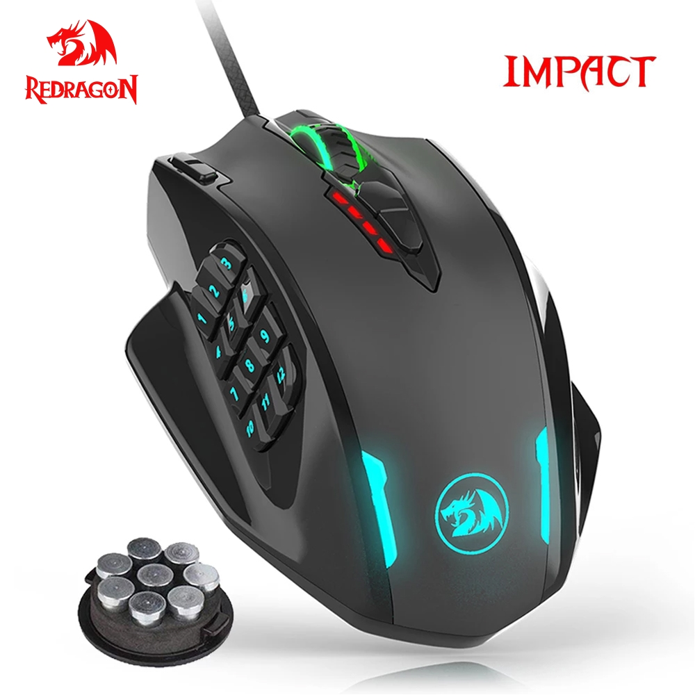 Redragon Impact USB wired RGB Gaming Mouse 12400 DPI 17 buttons programmable game Optical mice backlight laptop PC computer M908