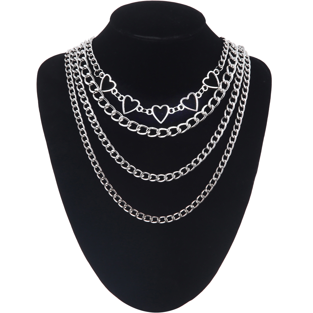 Layered Heart Chain Necklace Set For Girls 2020 Punk Aesthetic Cute Women Choker Female  Fashion Jewelry On The Neck Gift