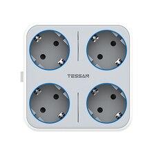 Tessan usb壁ソケットオン/オフスイッチ4アウトレット + 3 usb充電器euプラグ7で1電源アダプタ旅行に適用され、家庭やオフィス