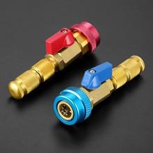 자동차 에어 컨디셔닝 밸브 코어 R134a 퀵 리무버 설치기 저압 냉매 프레온 어댑터 키트 밸브 코어 리무버 도구