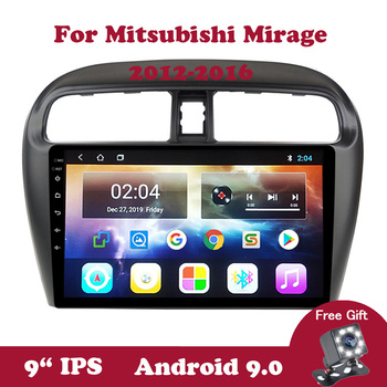 Android 9 Auto Autoradio Car Radio For Mitsubishi Mirage 2012 2013 2014 2015 2016 GPS Navi 2.5D 9 IPS DVD Video Player BT OBD2 image