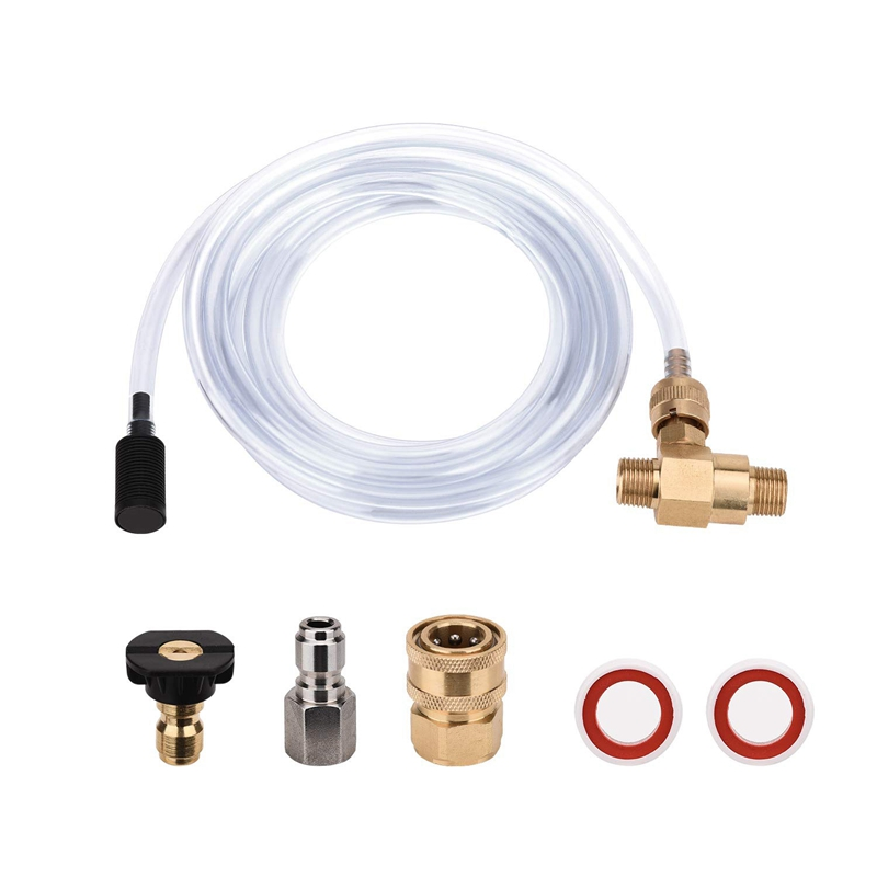 Pressure Washer Chemical Injector Kit Adjustable Soap Dispenser  3/8 Inch Quick Connect  10 Ft Siphon Hose  Come with 1 pcs Soap|Garden Water Connectors| |  - title=
