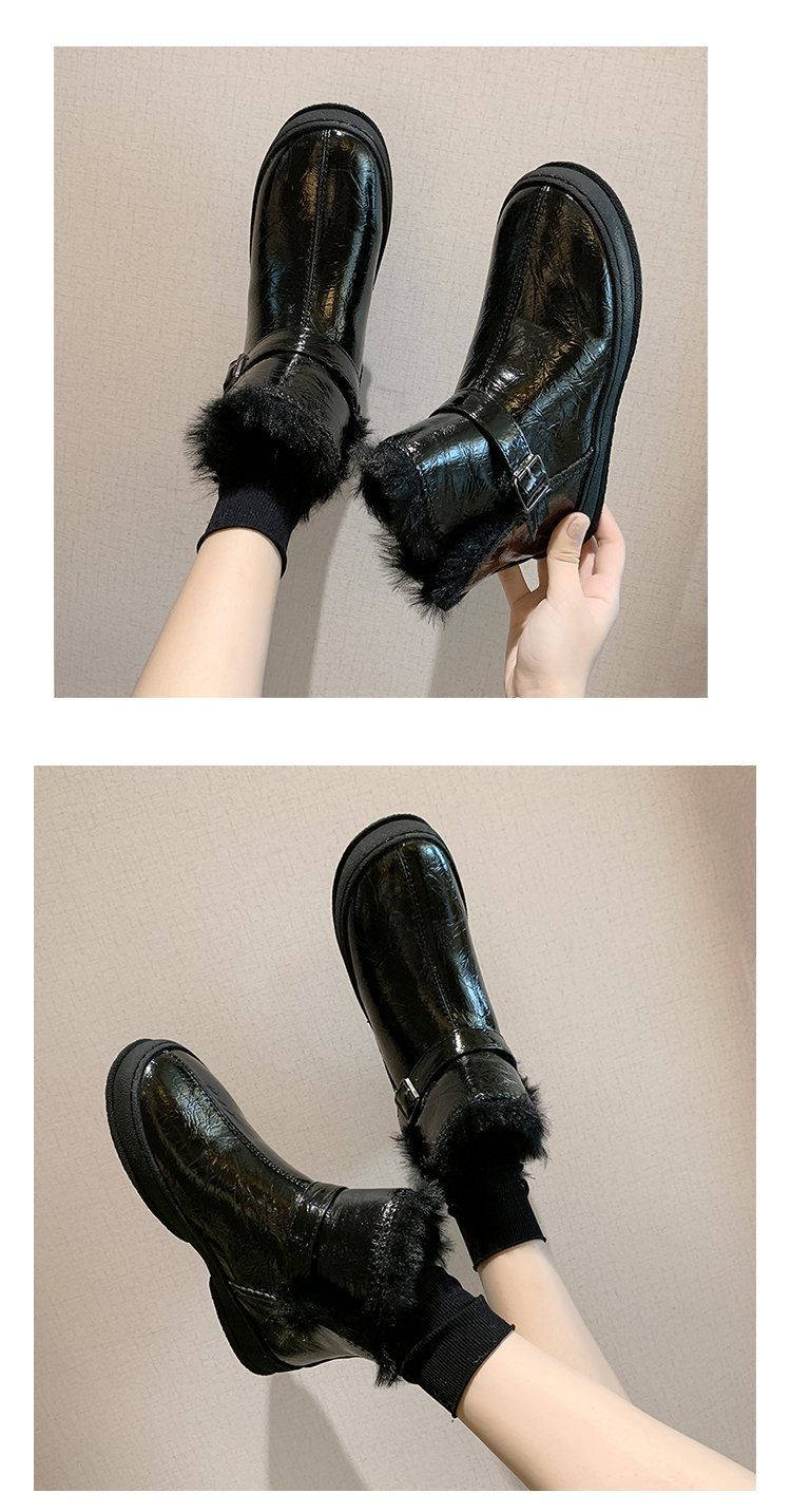 Winter snow boots for women, outdoor fur shoes, women's warm shoes, wool boots, solid rhinestones, casual women's boots 98