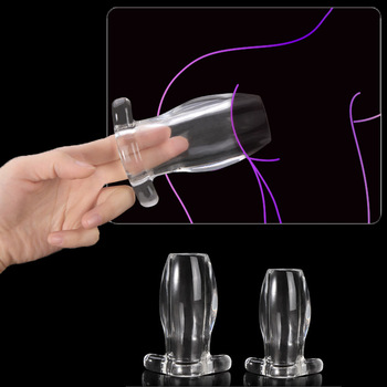2pcs anal vaginal dilator disposable plastic vagina expansion device colposcopy speculum medical feminine hygiene Hollow Anal Plug Soft Anus Dilator Enema Anal Vagina Extender Speculum Butt Plugs and Tunnels Sex Toys for Adults Gay Men Women