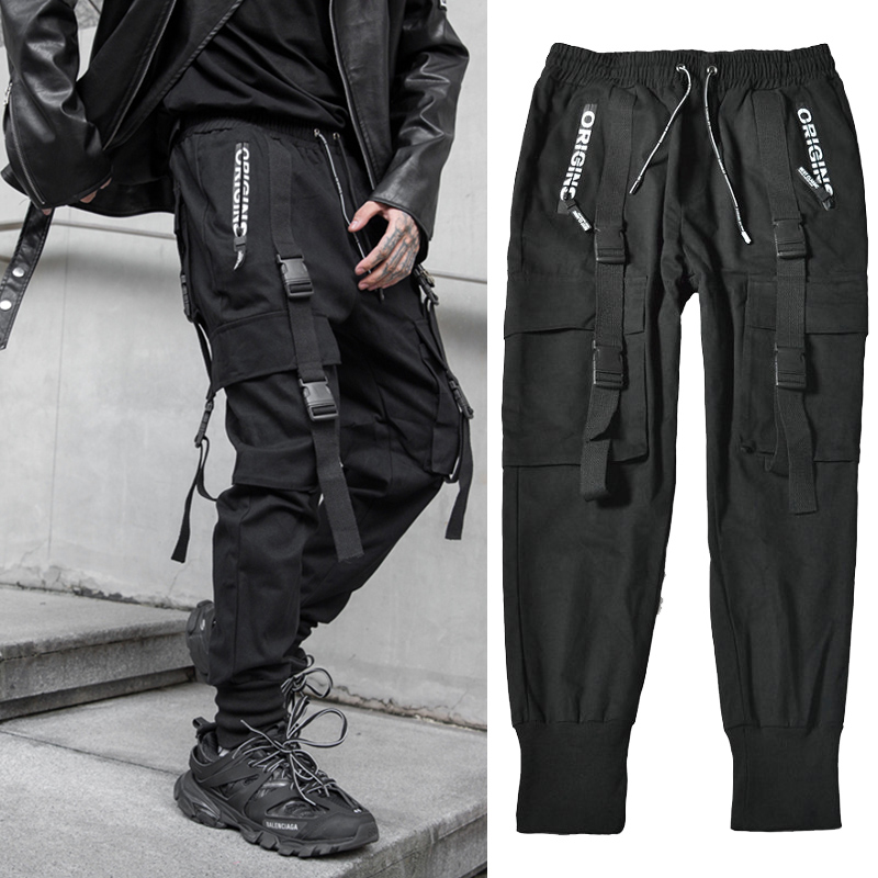 Streetwear Black Harem Jogger Pants Men Hip Hop Pockets Ribbons Sweatpants Mens Trousers Casual Slim Cargo Pants For Man
