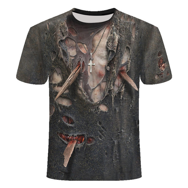 Cool Men's T-shirt Fashion fitness muscle short sleeve 3D printing casual 4