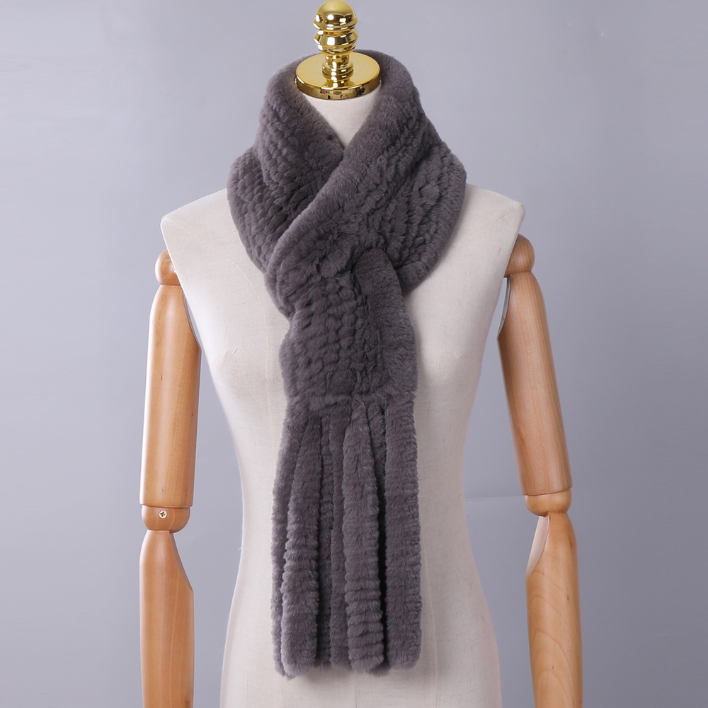 New Winter Women's Genuine Real Rex Rabbit Fur Hand Knitted Scarf Scarfs Cowl Ring Scarves Wraps Snood Street Fashion Tassel