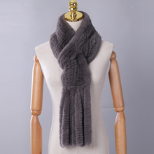 New Winter Women's Genuine Real Rex Rabbit Fur Hand Knitted Scarf Scarfs Cowl Ri