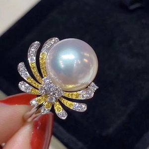 Image 1 - D109 Pearl Rings 11 12mm Fine Jewelry 18K Gold Natural White Peals Diamonds Rings for Women Fine Pearls Rings