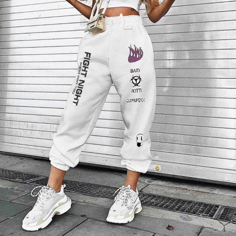 InsGoth Casual White Pants Streetwear Women Loose Harem Letter Printed Long Trousers Harajuku Female High Waist Long Trousers 1