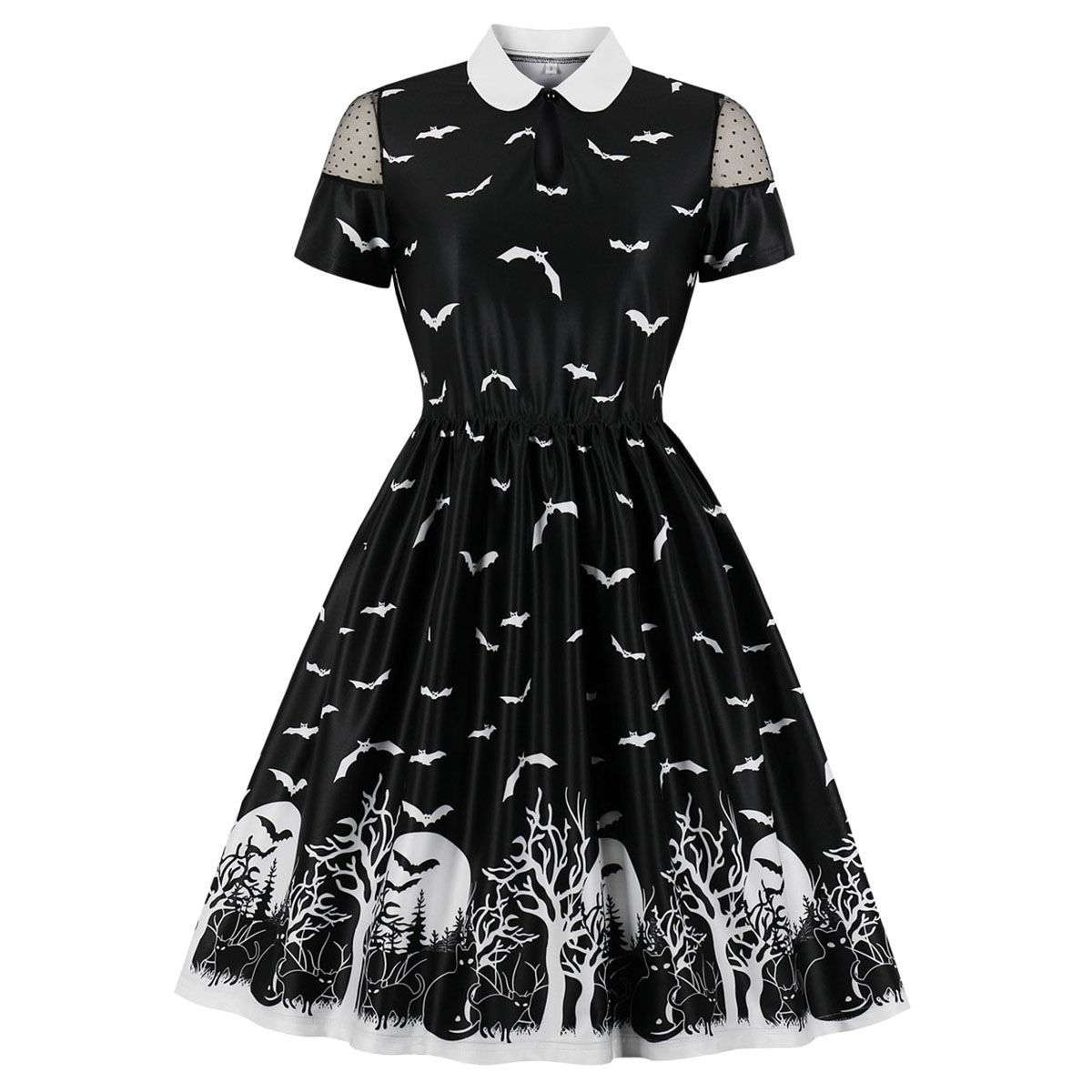 Halloween Dress for Women Fashion Printed High Waist Party Pleated Midi Casual Short Sleeve