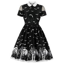 Halloween Dress for Women Fashion Printed High Waist Dress Halloween Party Pleated Midi Dress Casual Short Sleeve Women Dress retro style sleeveless high waist printed pleated dress for women