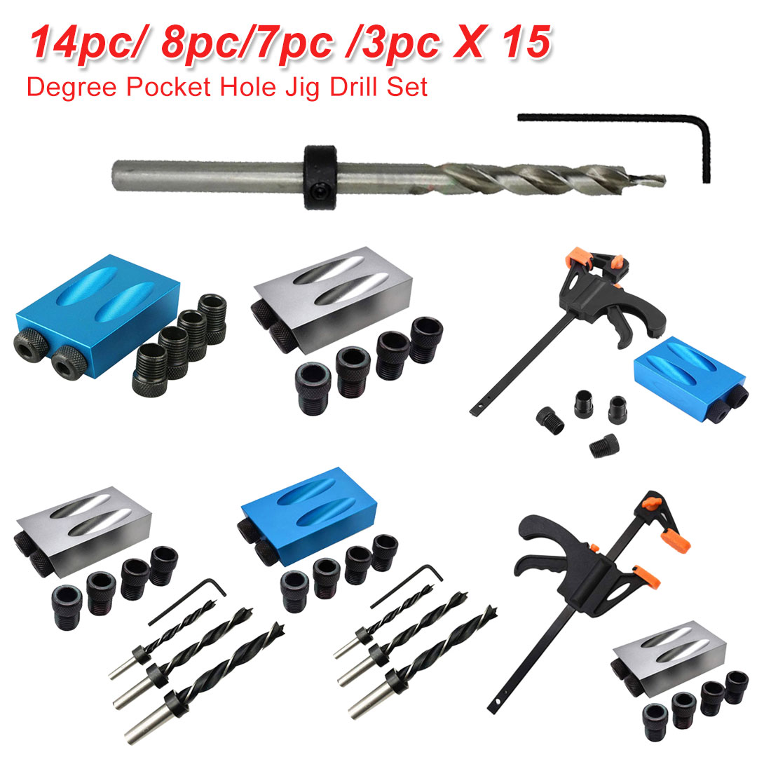 14pc/ 8pc/7pc /3pc Pocket Hole Jig Replaceable 6mm 8mm 10mm Drill Guide Back Dowel Jig Kit Wood Drill For Woodworking Jointing