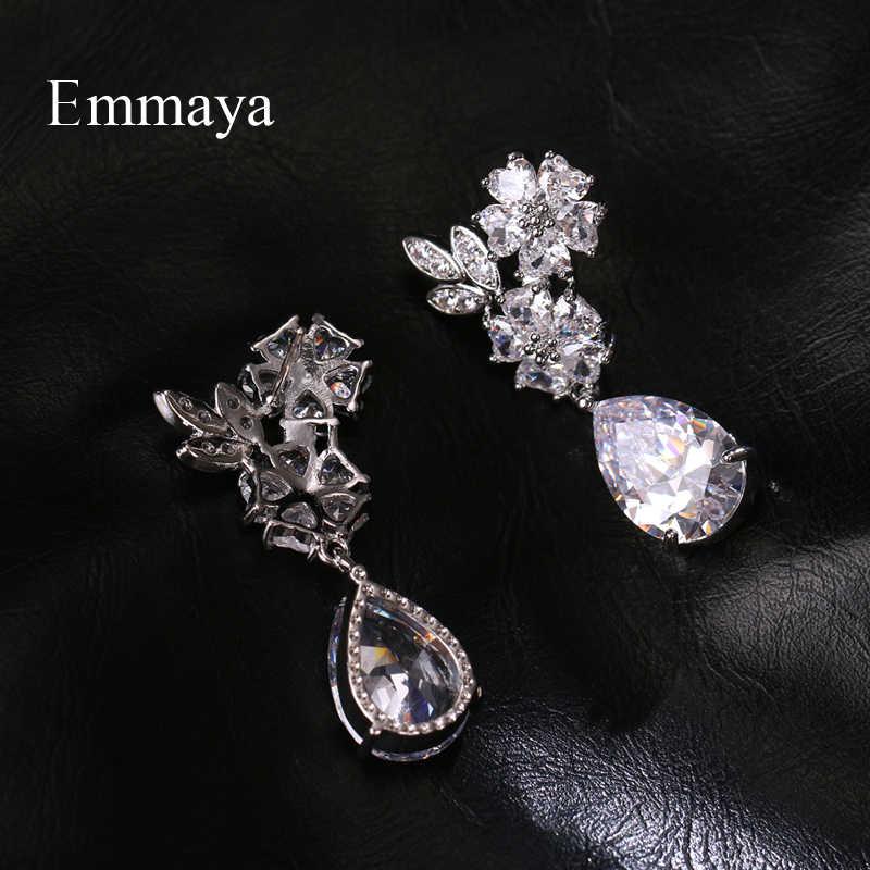 Серьги Emmaya с фианитами женские, элегантные ювелирные украшения для вечерние, блестящие симметричные, в форме цветка, четыре цвета