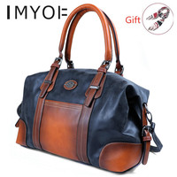 IMYOK Vintage Genuine Leather Luxury Women Bags Brand Designer Handbag High Quality Tote Bag Laides Shoulder Bags bolsa feminina