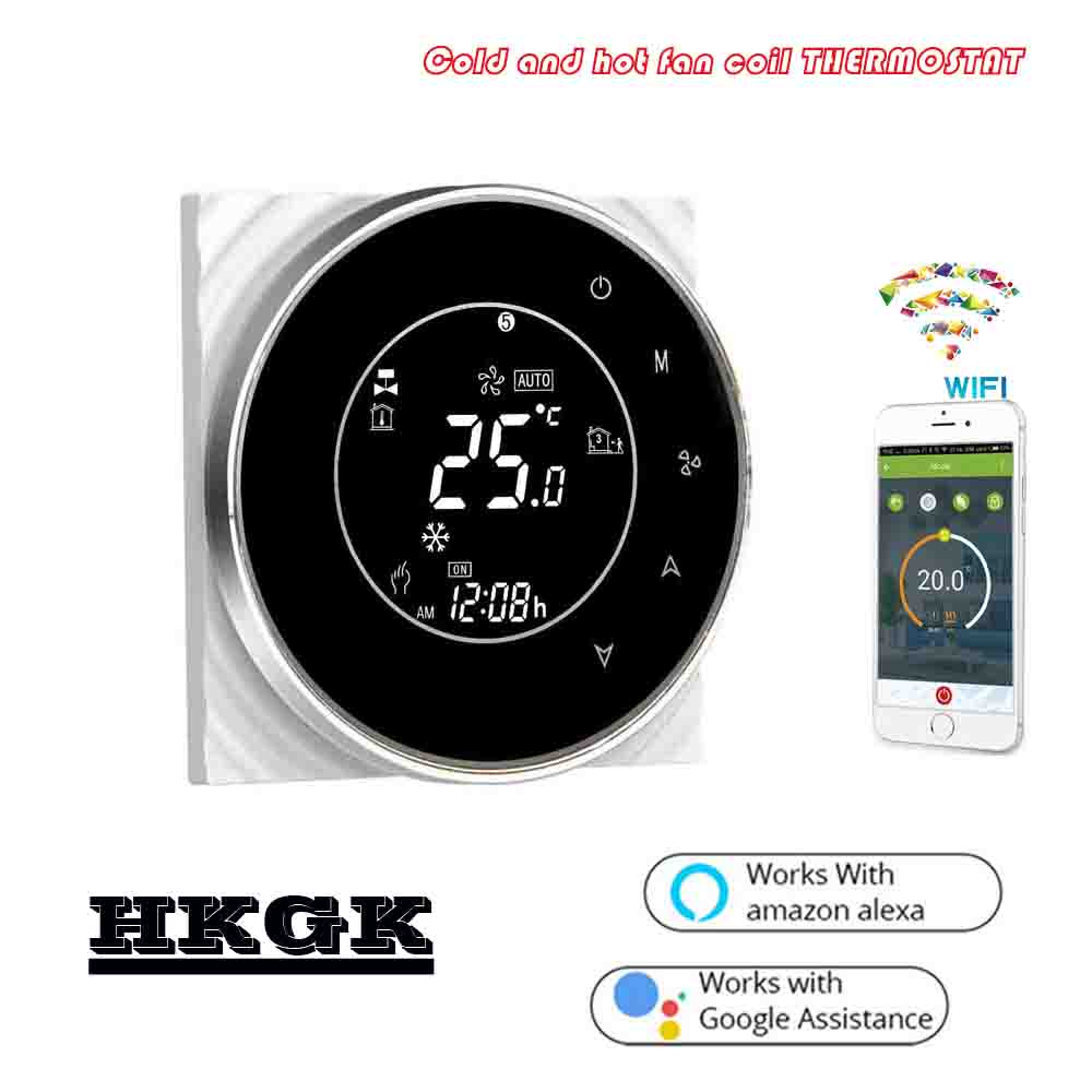 3A Central Air Conditioning Fan Coil Wifi Wireless Room Thermostat For Extractor 3speed NO NC Valve 24VAC,95~240VAC