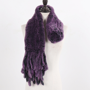 Image 3 - New LadyถักRexกระต่ายFur Tasselผ้าพันคอผู้หญิงฤดูหนาวWarm Natural Rexกระต่ายขนผ้าพันคอหนาถักจริงผ้าพันคอขนสัตว์