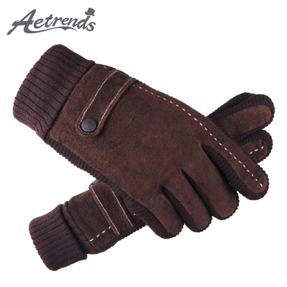 [AETRENDS] Men's Pigskin Leather Gloves Winter Motorcycle Riding Driving Gloves O-0007