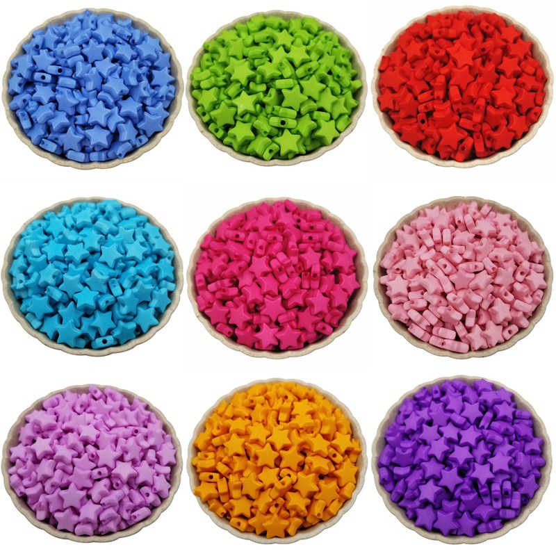 New Arrival Spacer Wholesale DIY 9mm Findings Candy Color Jewelry Accessories Acrylic Star shape Unique 100PCS Loose Beads