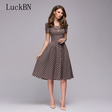 New Women Casual Dress Spring Summer Vintage Polka Dot Printing Dress Vestidos Women Tunic Square Collor A-line Midi Dresses long sleeved dress women spring summer 2019 new vintage polka dot stand collar slim a line casual french style dress midi