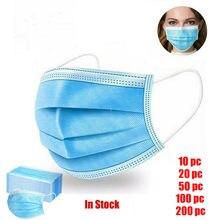 200 sztuk jednorazowe twarzy Maske dorosłych zewnątrz chustka szalik ochrony przeciwsłonecznej pyłoszczelna Unisex wiatroszczelna ochrona ciepłe masque mężczyźni kobiety