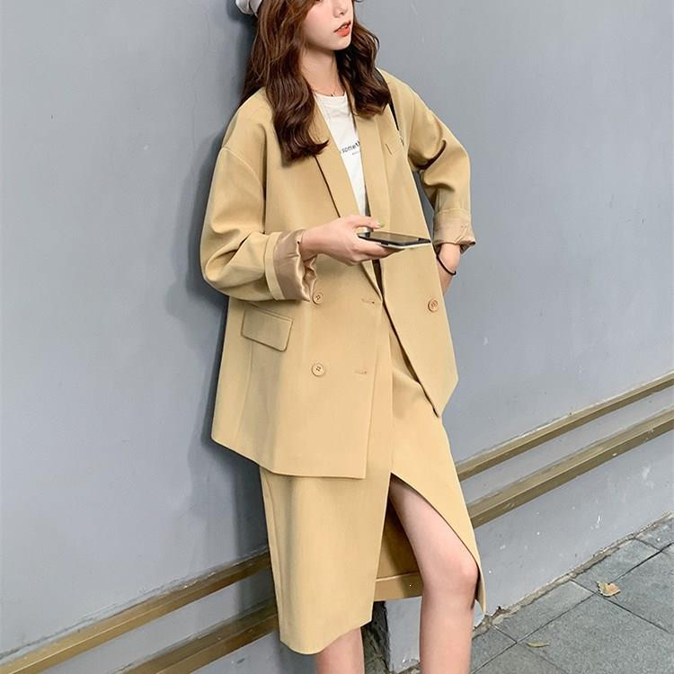 Elegant Turn-Down Collar Jacket High Waist Skirt Suit Women Long Blazer And Split Mid Skirt Two Piece Set