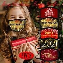 5 pçs crianças natal máscara facial feliz ano novo impressão boca tampa proteção lavável máscara respirável cubre boca reutilizável