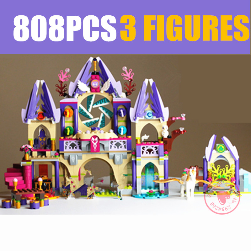 New Skyra's Mysterious <font><b>Sky</b></font> <font><b>Castle</b></font> Fit <font><b>Legoings</b></font> Fairy Elves Figures Friends Building Blocks Fairy Tale Girl Toy Gift Kid Birthday image