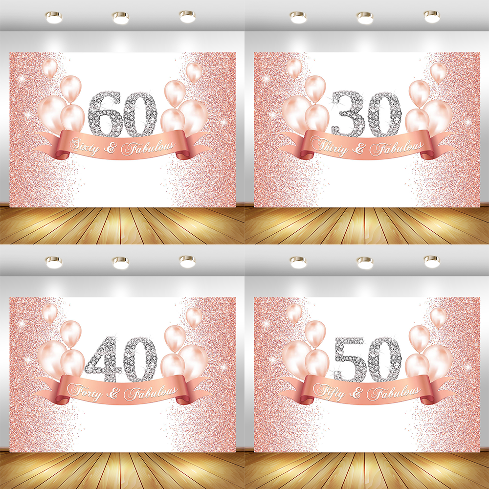 Aperturee 7x5ft Happy 40th Birthday Party Photography Backdrop Sweet Rose Gold and Pink Dots Background Adult Woman Bday Glittter Party Decorations Shining Diamond Photo Booth Studio Props Banner