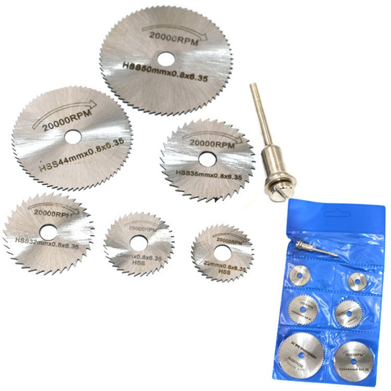7pcs /Set HSS Circular Saw Blade Rotary Tool For Dremel Metal Cutter Power Tool Set Wood Cutting Discs Drill Mandrel Cutoff