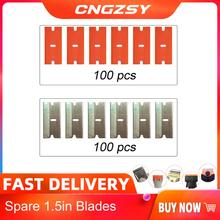 100 pçs lâminas de metal plástico segurança raspador lâmina cola faca vidro mais limpo substituição lâmina aço carbono ferramenta limpeza piso e13