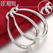 DOTEFFIL – boucles d'oreilles en forme de cercle pour femmes, bijoux en argent Sterling 925, 39mm, breloques, cadeau de fête, de fiançailles, de mariage, à la mode
