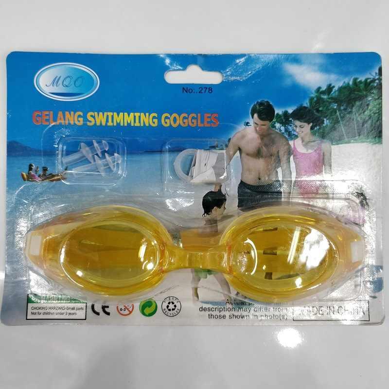 Gafas de natación para adultos con ondas de agua de color de visón, tapones para los oídos de verano, gafas impermeables de buen producto