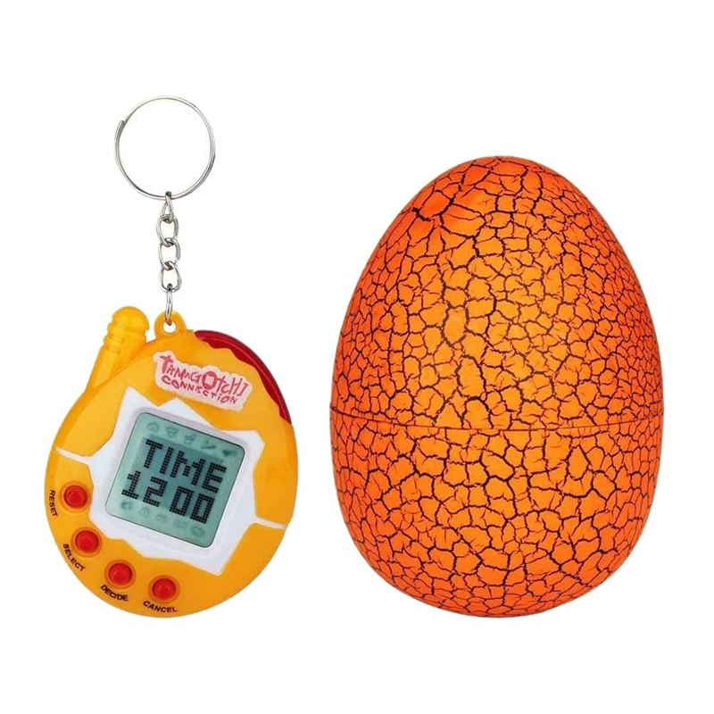 90s Nostalgic 49 Animals In A Single Virtual Cyber For Pet Toy Funny Tamagotchi With Egg(Orange)