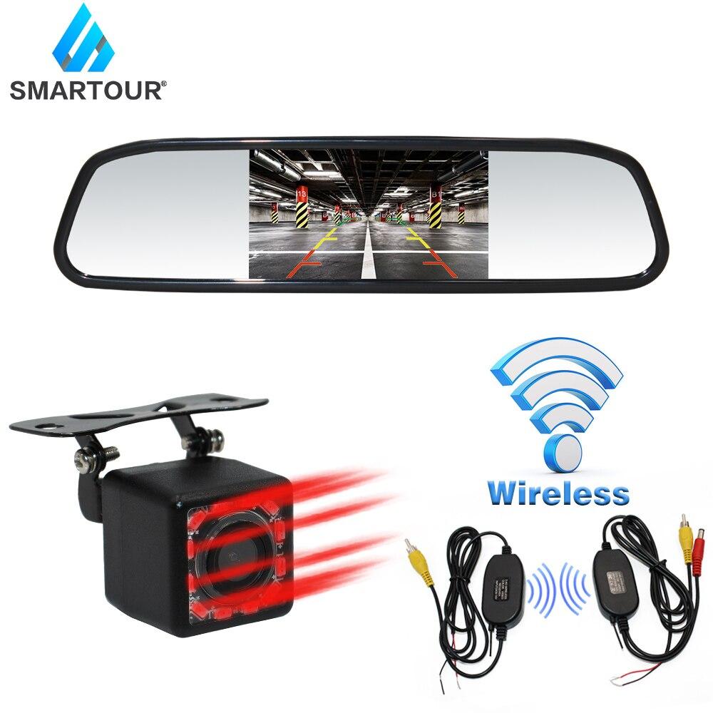 Smartour Auto HD Video Parcheggio per Automobili Monitor Night Vision Telecamera di Retromarcia Senza Fili Videocamera vista posteriore Con 4.3 pollici Retrovisore Auto Specchio