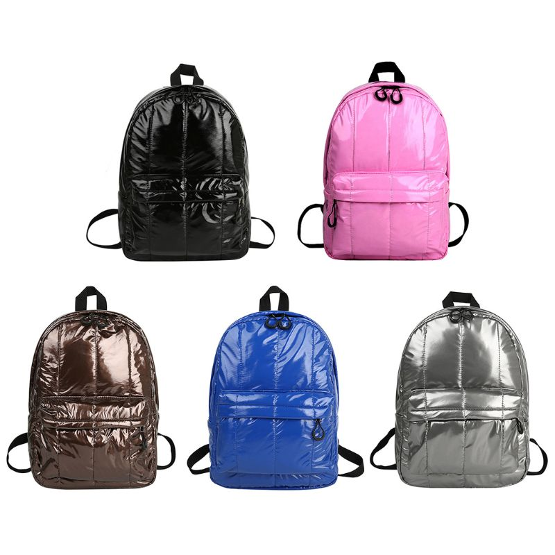 Wild Fashion Casual Unisex Space Down Glossy Backpack Waterproof Soild Color Simple Design Female Sports Lightweight