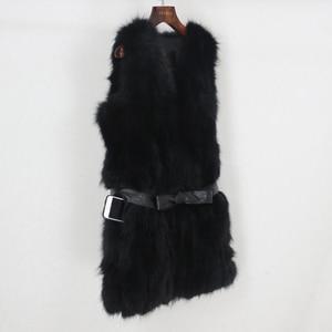 Image 3 - OFTBUY 2020 Winter Jacket Women Black Real Natural Fox Fur Vest Coat New Luxury Female Warm Thick Slim Waistcoat Belt Streetwear