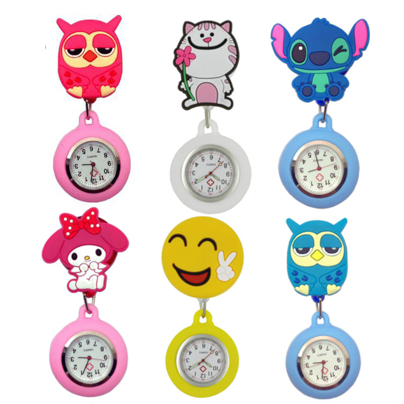 Fashion Lovely Cartoon Animal Design Scalable Soft Rubber Nurse Pocket Watches Ladies Women Doctor Smile Medical Watches